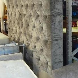 6 Super King Size Grey Buttonedvelour Fabric Headboard