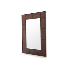 Dark Wooden Grooved Wall Mirror