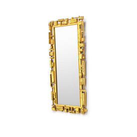 Rect Bright Gold Resin Ornate Framed Wall Mirror
