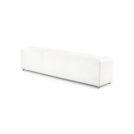 """Large Rect White Leather """"Wittman"""" Bench"""