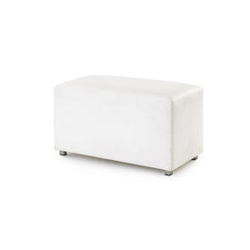 """Small Rect White Leather """"Wittman"""" Bench"""
