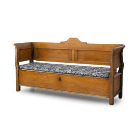 Wooden Settle Bench with Blue Floral Cushion