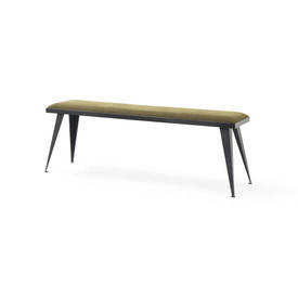 Rect Black Steele Bench with Taupe Fabric