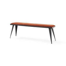 Rect Black Steele Bench with Brick Fabric