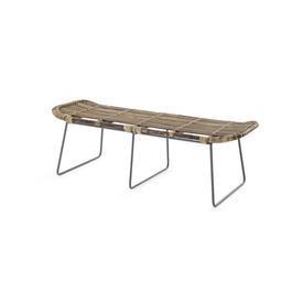 Rect Rattan Wood & Metal Leg Bench