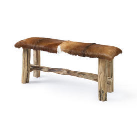 Rect Log Bench with Brown Skin Seat