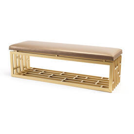 Gold Lacquer Oriental Bench with Gold Seat