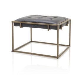 Aged Brass & Black Leather Small Bench
