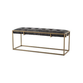 Aged Brass & Black Leather Large Bench