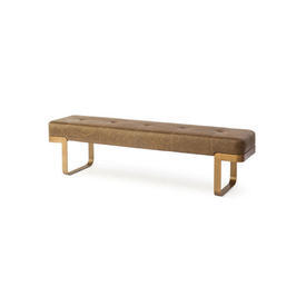 """Brown Leather """"Cube"""" Bench on Bronze Base"""
