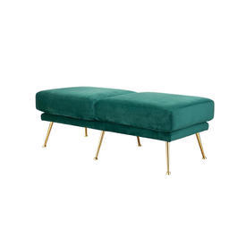 """Green Velvet """"Tahoe"""" Bench on Gold Legs"""