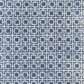 indigo & White Block Printed ''Squares'' Rug