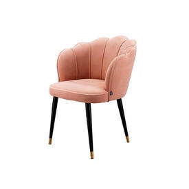 "Coral Pink Velvet ""Bristol"" Scallop Back Chair on Black Legs"