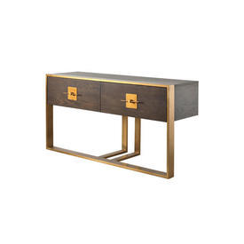 Dark Wooden & Brushed Gold 2 Drawer Console Table