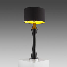 Black Glossed & Chrome ''Sentinel'' Table Lamp (Shade Not included)