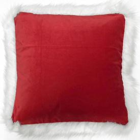 """Cushion 20"""" x 20"""" Red Velvet / Fur Trim"""