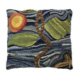 "Cushion 16"" x 18"" Royal Heavy Wool Scenic Crewel"