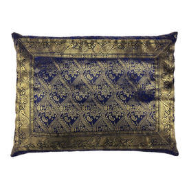 "Cushion 16"" x 22"" Royal Indian Geo Metallic Brocade / Braid"