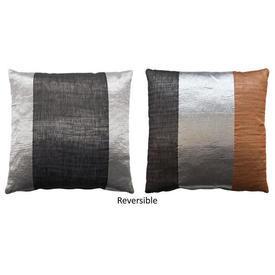 """Cushion 15"""" x 15"""" Silver / Ginger Romo Kaya Henna Stripe Metallic"""