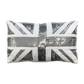 """Cushion 11"""" x 18"""" Silver Union Jack Sequinned"""