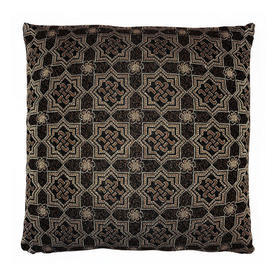 "Floor Cushion 24"" x 24"" Black Geo Metallic Weave"