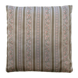 "Cushion 16"" x 16"" Beige Regency Style Stripe Sateen"