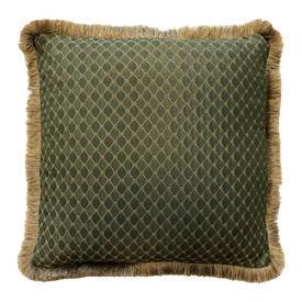 """Cushion 18"""" x 18"""" Sage Lattice Damask / Fringe"""