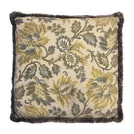 "Cushion 18"" x 18"" Sea Floral Brocatelle / Tuft Fringe"