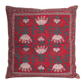 "Cushion 20"" x 20"" Red Geo Flower Print Indian Cotton"