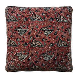 "Cushion 18"" x 18"" Maroon Paisley Leaf Print Indian Cotton"