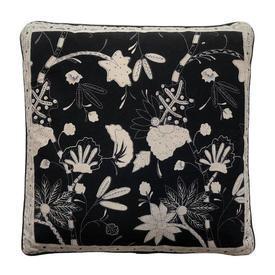 "Cushion 15"" x 15"" Black Leaf Print Indian Cotton"