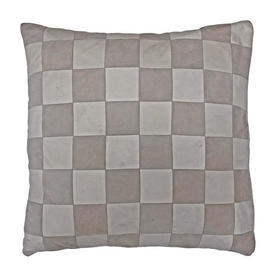"""Cushion 18"""" x 18"""" Ivory / Oyster Small Check Patchwork Leather"""