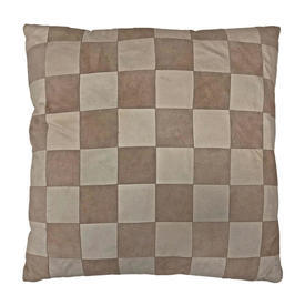 """Cushion 18"""" x 18"""" Beige / Fawn Small Check Patchwork Leather"""