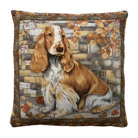 """Cushion 16"""" x 16"""" Rust Cocker Spaniel Print / Quilted"""