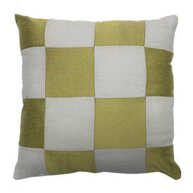 "Cushion 16"" x 16"" Lime Silky Dupion / Linen Patchwork"
