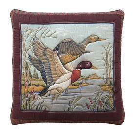 """Cushion 15"""" x 15"""" Burgundy Flying Ducks Outline Quilted Cotton"""