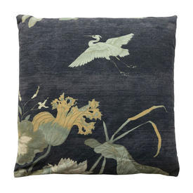 "Cushion 14"" x 14"" Charcoal Herons & Floral Chintz"