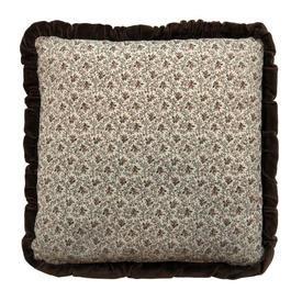 "Cushion 16"" x 16"" Cream / Brown Laura Ashley Tiny Floral Leaf / Velvet Frill"