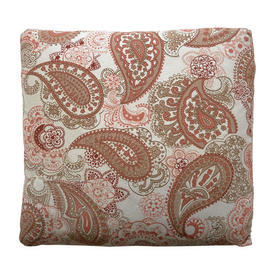 "Cushion 12"" x 13"" Terracotta Paisley Print Sateen"