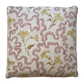 "Cushion 16"" x 16"" Apricot Floral Ribbons Chintz"