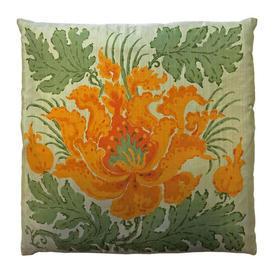 "Cushion 16"" x 16"" Sage / Orange Large Flower Print Silk"