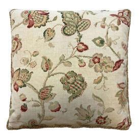 "Cushion 20"" x 20"" Lime Leaf Crewel Print Linen"