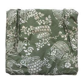 """Seat Cushion 16"""" x 18"""" Sea Floral Baskets Stencil Cotton"""