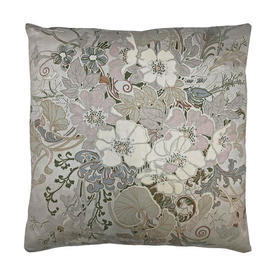 "Cushion 15"" x 15"" Silver Floral Scroll Stripe Sateen"
