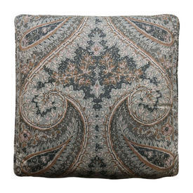 "Cushion 17"" x 17"" Airforce Large Paisley Print Sateen"