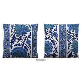 "Cushion 16"" x 16"" Cerulean Large Crewel Print Stripe"