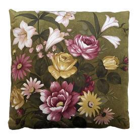 "Cushion 20"" x 20"" Khaki / Pink/Yellow Floral Print Sateen"