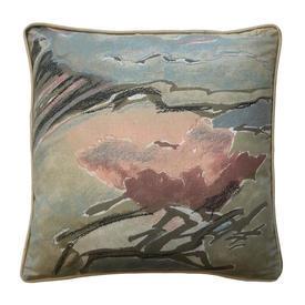 "Cushion 16"" x 16"" Sand Abstract Scenic Chintz"