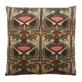 "Cushion 16"" x 16"" Rust Jonelle Laertes Tile Motif Sateen"
