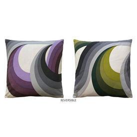 """Cushion 17"""" x 17"""" Mauve / Lime Large Wave Print Cotton Reversible"""